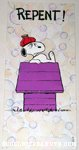 Snoopy on doghouse 'Repent' Greeting Card
