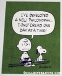 Charlie Brown 'I've developed a new philosophy... I only dread one day at a time' Postcard