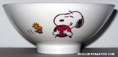 Snoopy hugging dish with Woodstock Ceramic Rice Bowl