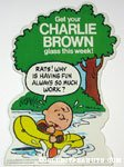 Charlie Brown 'Rats!' Glass Promo
