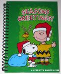 Santa Snoopy, Reindeer Woodstock and Charlie Brown Christmas spiral Journal