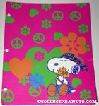 Snoopy hugging Woodstock wearing hippie outfit Portfolio Folder