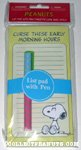Snoopy sitting 'Curse these early morning hours' List Pad & Pen