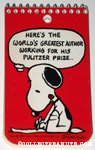 Snoopy writing 'Here's the World's Greatest Author working for his Pulitzer Prize' Spiral Notebook