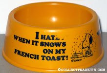 Snoopy 'I hate it when it snows on my french toast' Yellow Dog Dish