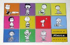 Peanuts Gang Members in squares Charles M. Schulz Museum Postcard
