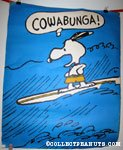 Snoopy surfing 'Cowabunga' Poster
