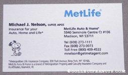 Snoopy Metlife Business Card