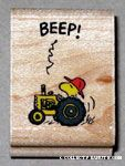 Woodstock driving a tractor Rubber Stamp