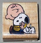 Charlie Brown hugging Snoopy Rubber Stamp