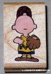Charlie Brown looking up wearing baseball uniform Rubber Stamp