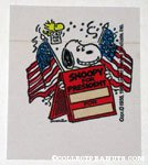 Snoopy holding Sandwich board with Woodstock 'Snoopy for President' Sticker