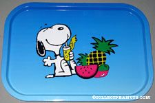 Snoopy with tropical drink and fruits Tray