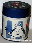 Snoopy on ground wagging his tail Tin Container