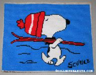 Snoopy carrying skiis Stitchery Picture
