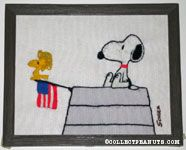 Snoopy & Woodstock on Doghouse Crewel Stitchery Picture