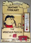 Lucy sitting in 'Weather Forecast' Booth Thermometer