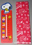 Snoopy hugging Woodstock Wooden Thermometer