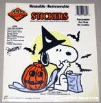 Snoopy witch eating out of trick-or-treat bag with Pumpkin Static Stick-on Window Cling