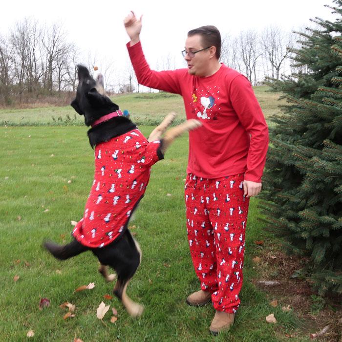 Action shot of Doggie Pajamagram Pajamas