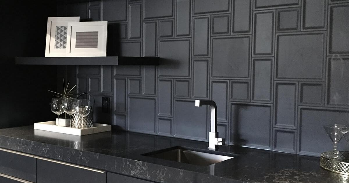 CONTEMPORARY BAR DARK TONES WITH 3-D TILE COLLEEN FERGUSON DESIGN CALGARY INTERIOR DESIGNER