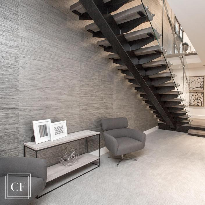 CONTEMPORARY FLOATING STAIRS AND METALLIC GRASSCLOTH WALLPAPER COLLEEN FERGUSON DESIGN