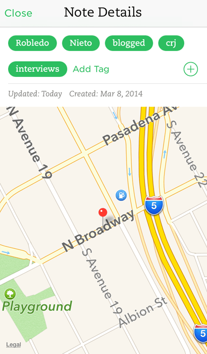 Evernote Audio Interviews - Map View - iOS