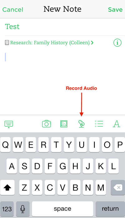 Evernote Audio Interviews - Record Audio Note - iOS