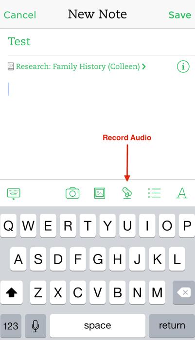 Evernote Audio Interviews - Record Audio Note - iOS