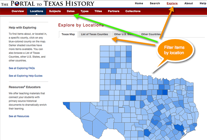 Portal to Texas History, Browsing