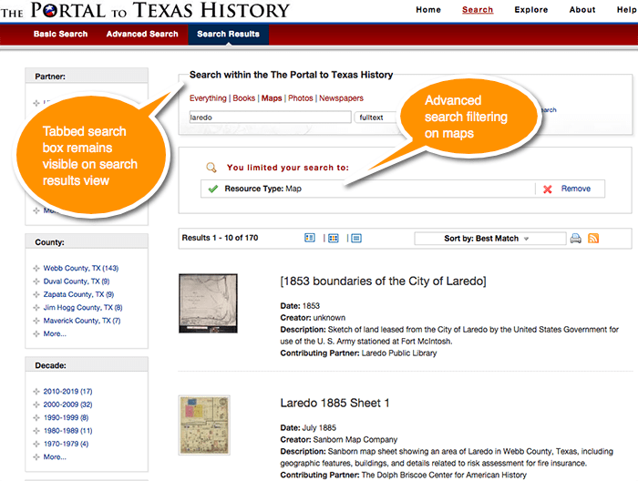 Portal to Texas History, Search Results