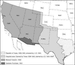 Map Following US-Mexico War