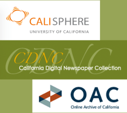Logos for Calisphere, California Digital Newspaper Collection, and the Online Archive of California