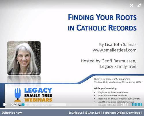Legacy Family Tree Webinar on Catholic Records