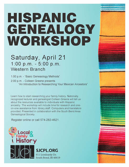 SJCPL Hispanic Genealogy Workshop Flyer 2018