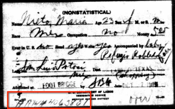 1915 Border Entry Card for Maria Nieto