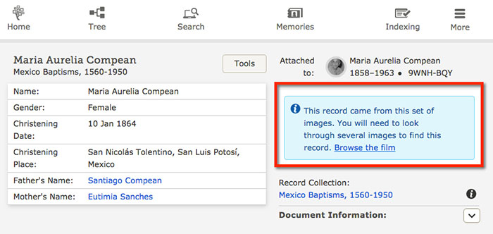New FamilySearch symbology linking to a digitized collection