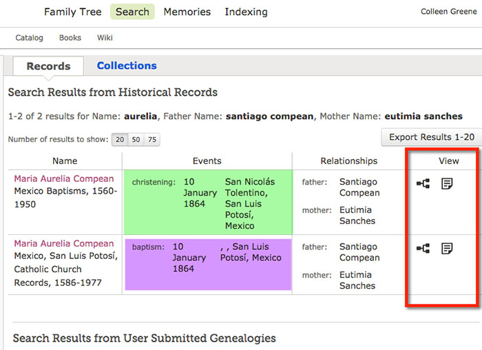 FamilySearch search results that do not include a linked record image