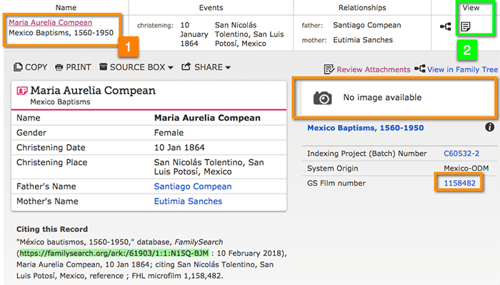 Inconsistent Behavior with FamilySearch Index Only Item Records