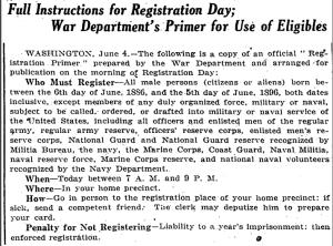 New York Times headline on 5 June 1917