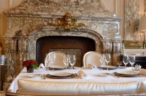 Le Meurice Restaurant scene looking at fireplace, Paris, Yannick Alléno, Chef des Cuisines