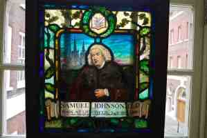 Dr. Johnson's House, London, stained glass with his portrait