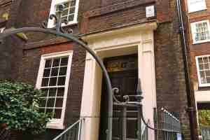 Dr. Johnson's House, London, exterior with fanlight window and wrought iron