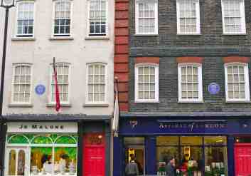 Handel House Museum facade, store fronts replaced parlors