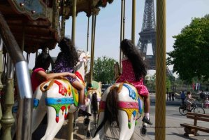 Trocadero carrousel facing Eiffel Tower - April