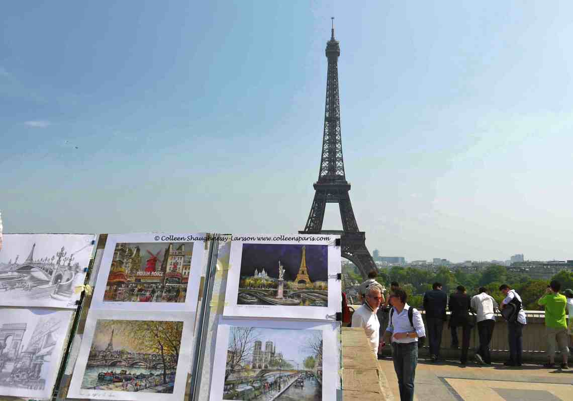 Eiffel Art-Just before the police arrive and chase away the vendors on Trocadero