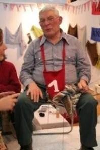 Men knit at l'Aiguille en Fete in Paris - stock photo-no age or gender restrictions
