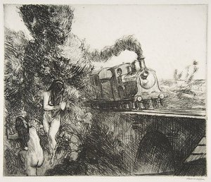 Train and Bathers Edward Hopper 1920