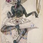 Dessin de costume pour la danse sacrée du Dieu Bleu_Bakst (1912) pour les ballets russes