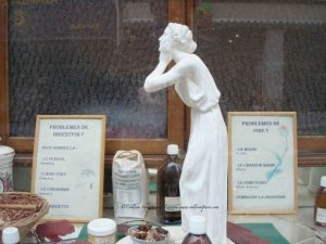 Herboristerie de la Place Clichy 87 Remedies and Figurine in Window